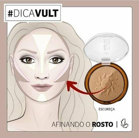 Como afinar o rosto... Pó escuro nas áreas mais escura, blush ms área toda e iluminar a região clara