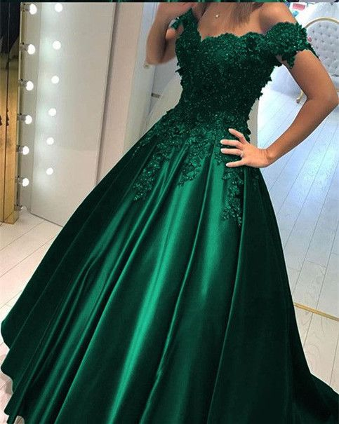 Cap Sleeved Emerald Green Prom Dress Evening Dress Made To Order Can Be Made With Any Chang Green Prom Dress Cheap Prom Dresses Long Prom Dresses For Teens