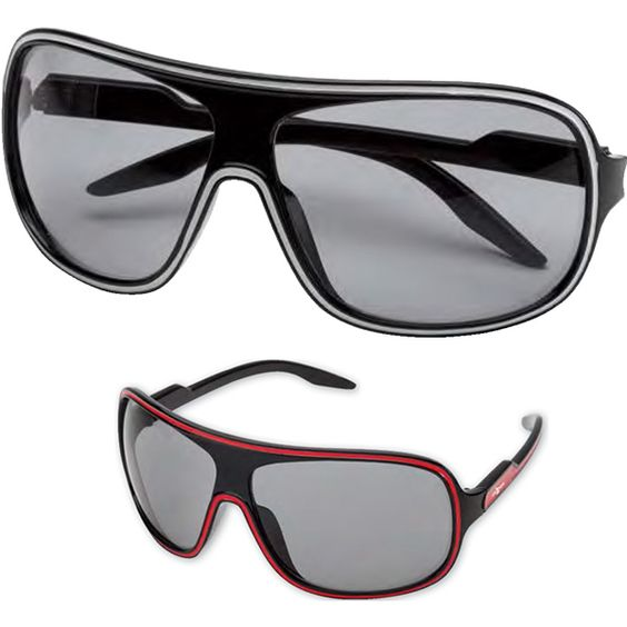 Two-tone sport sunglasses feature UV400 lenses and provide 100% UVA and UVB protection.