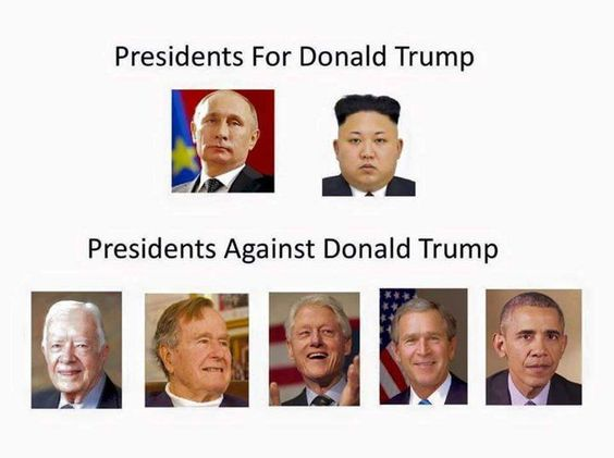 Presidents for Donald Trump. Presidents against Donald Trump. This speaks for…