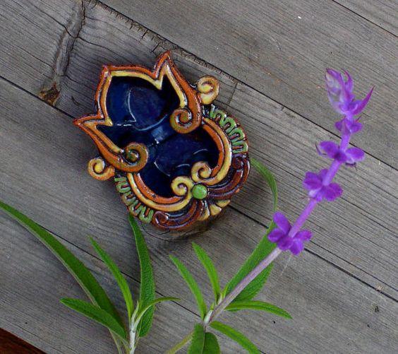 Ceramic glazed ganesha diwali diyas ring dish zen decor for Aarti dish decoration