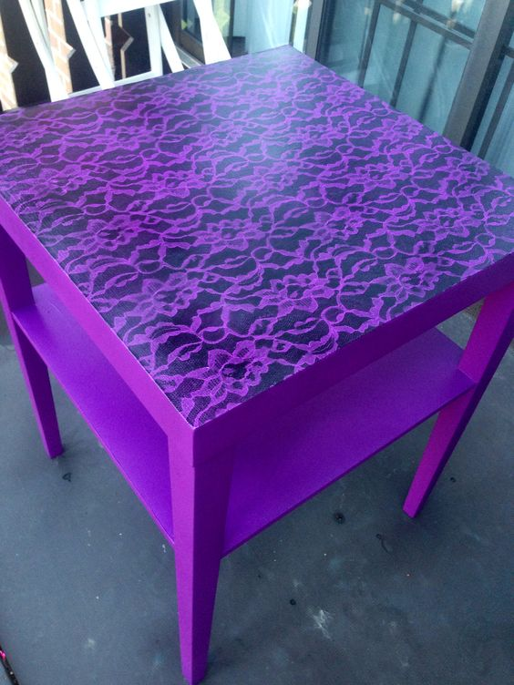 Painted purple table with lace stencil accent: