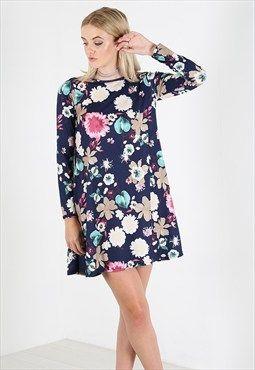4354 Be Jealous Floral Jersey Long Sleeve Skater Mini Dress