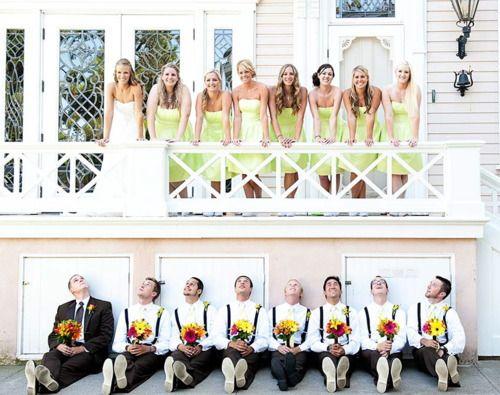 Love the groomsmen holding the flowers!