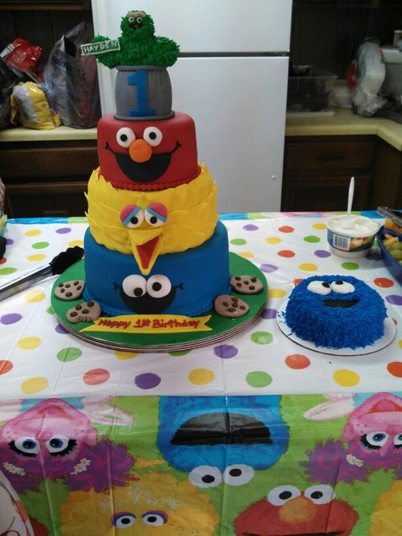 1st Birthday -- 4 layer cake: Oscar = vanilla, Elmo = red velvet ...
