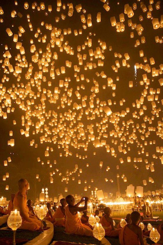 Sky Lantern Festival, Pingxi District, Taiwan -  everybody buys lanterns, write their wishes inside and release them into the heavens