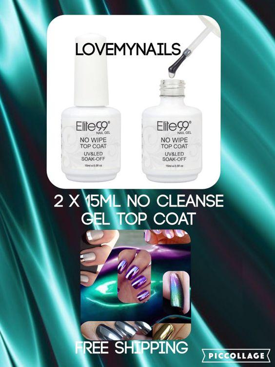 Mirror nail powder top coat no wipe no by Lovetobakeandcraft