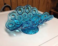Vtg LE Smith Blue Glass Moon & Star Banana Boat Footed Fruit Bowl