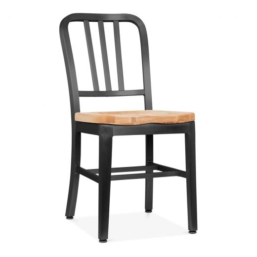 Fabulous Navy Style Metal Dining Chair 1006 With Natural Wood Seat Ibusinesslaw Wood Chair Design Ideas Ibusinesslaworg