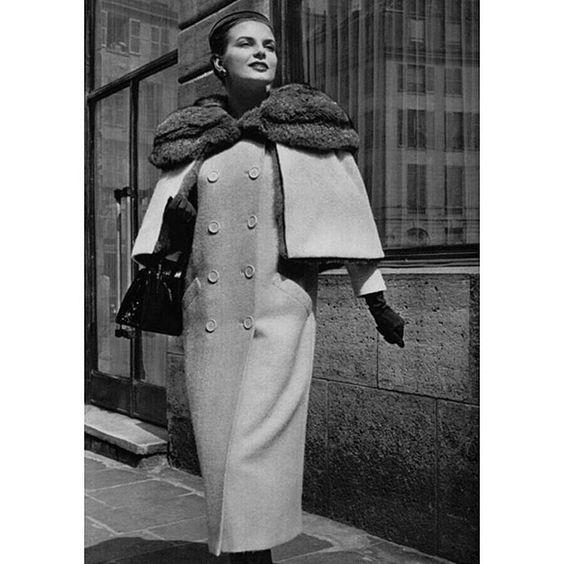 1954 - Balenciaga fur & white shetland coat