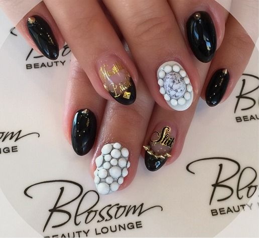 Black white and gold nails #blossombeautylounge