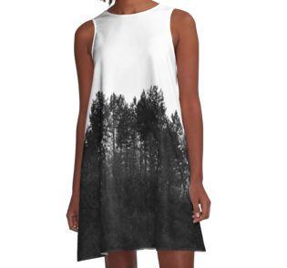Crest #A-Line #Dress by ARTbyJWP on redbubble #womensclothes #blackandwhite #minimal #redbubble #prints