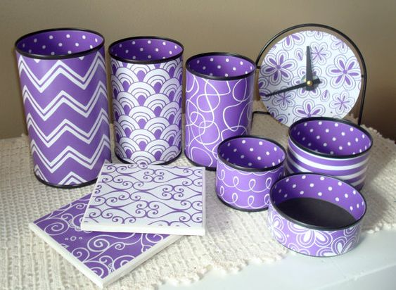 Purple Desk Accessories Purple Chevron Desk Decor by makingtimetc