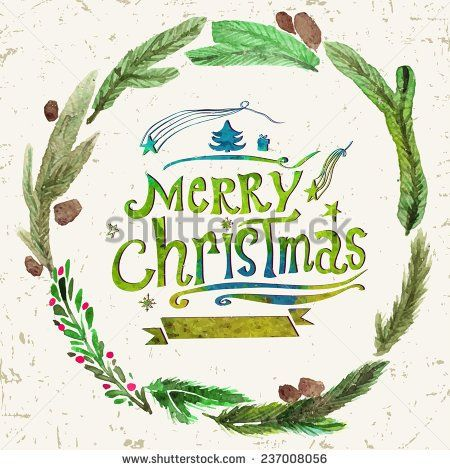 stock-vector-watercolor-christmas-greeting-card-with-wreath-of-holly-twigs-and-text-merry-christmas-watercolor-237008056.jpg (450×470)