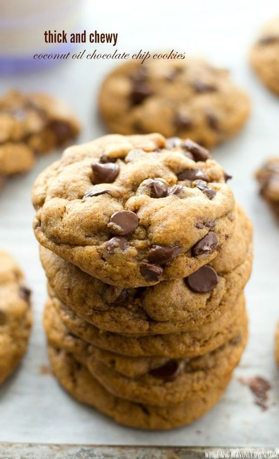 and Chewy Coconut Oil Chocolate Chip Cookies | Recipe | Chip Cookies ...