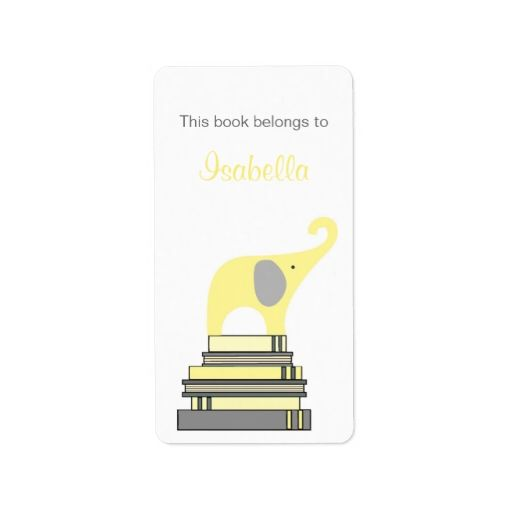 Yellow and Gray Elephant on books bookplate Address Label