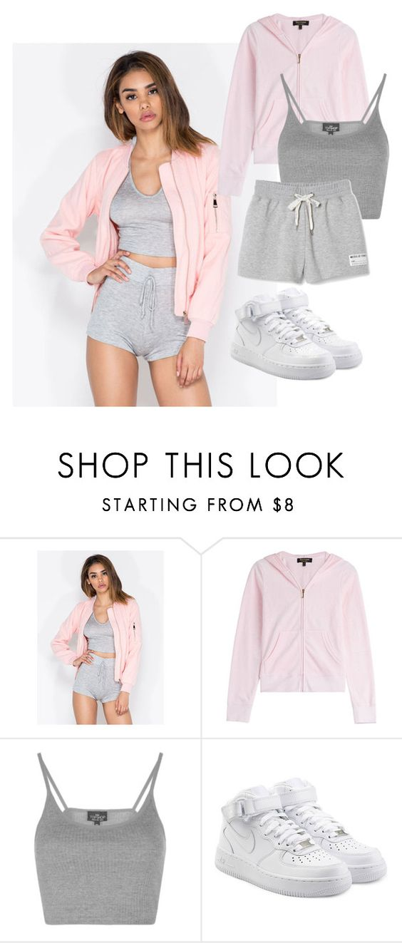 """""""Hey I"""" by mebstyles ❤ liked on Polyvore featuring Juicy Couture, Topshop and NIKE"""