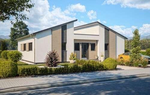 Bungalow Von Rensch Haus Liberty M Eingangsansicht In 2020 Fertighaus Bungalow Haus Fertighaus Oder Massivhaus