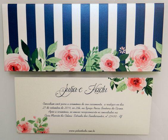 Convite listrado com rosas. Romântico e original!