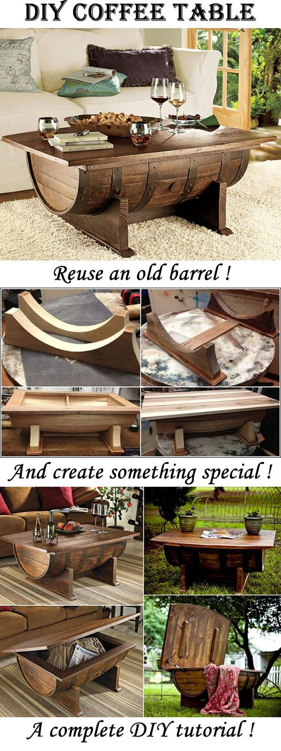 Amazing coffee table made from an old barrel create a - Deco table gourmandise ...