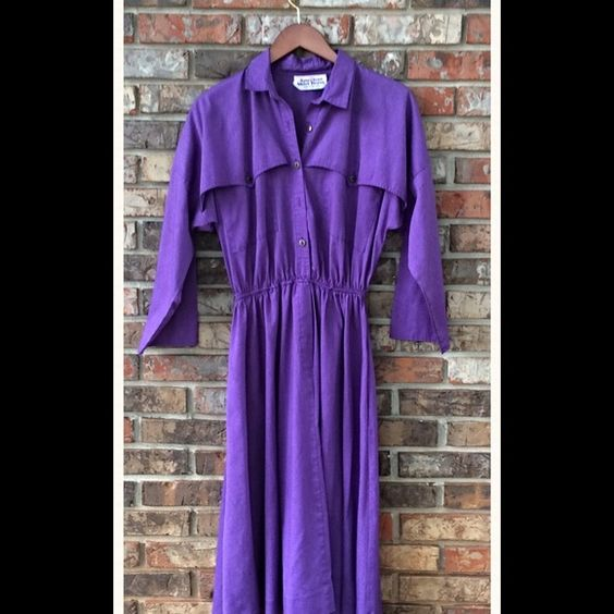 Vintage American Shirt Dress Beautiful color! Measures 42 inches across the bust and has a stretchy waist, from 24-38 inches. 42 inches long. Super soft! 65% polyester and 35% cotton. Features front buttons and back detail. Vintage Dresses