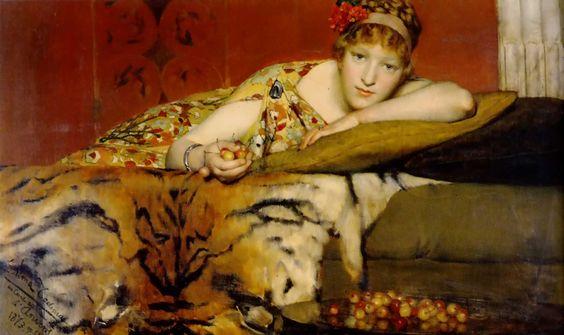 """Cerezas"" (1873). Obra de Sir Lawrence Alma-Tadema (1836-1912). Colección privada.   ""Cherries"" (1873). Work by Sir Lawrence Alma-Tadema (1836-1912). Private collection."