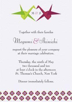 origami crane wedding invites...?