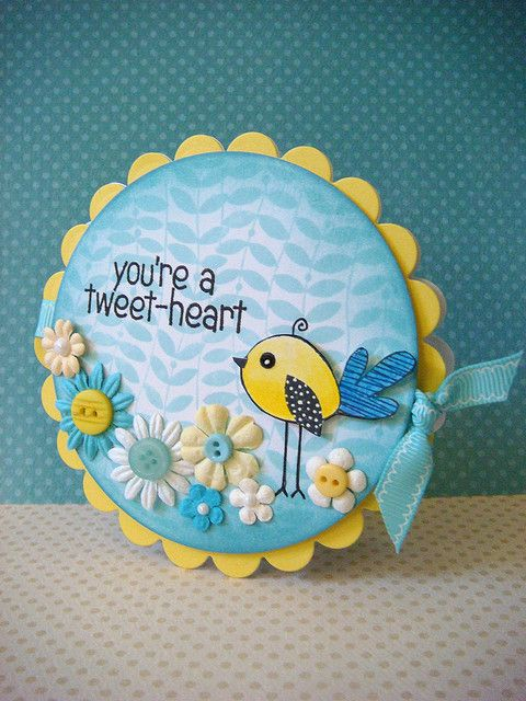 round card ... like the bright yellow accents and the bright blue together .,. adormable bird image ... flowers with button centers ...