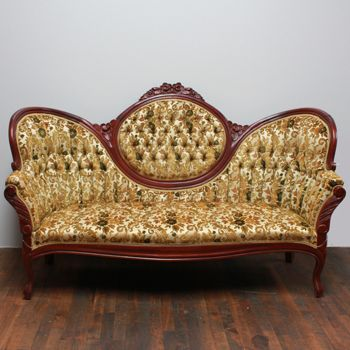 Kimball Floral Couch Victorian Style Cameo Sofa With Mahogany Wood And Floral Patterned