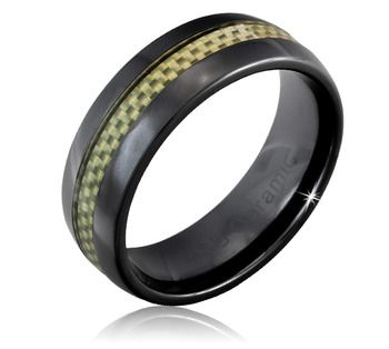 $17.99 8mm Men's Black Ceramic Ring With Silver Carbon Fiber Inlay
