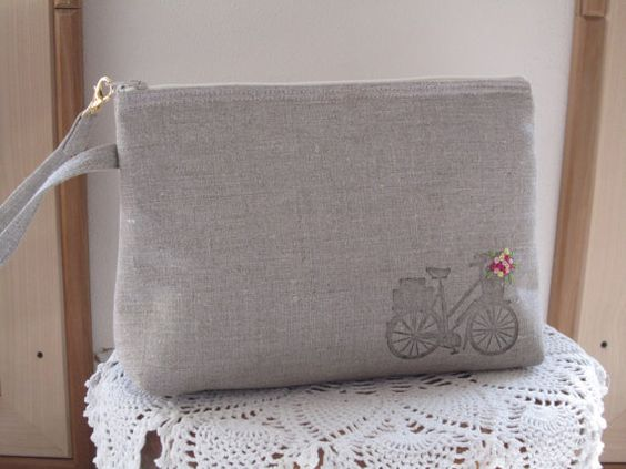 Large Linen Wristlet Zipper Clutch with Retro bike Handstamped Hand Embroidered Made in USA