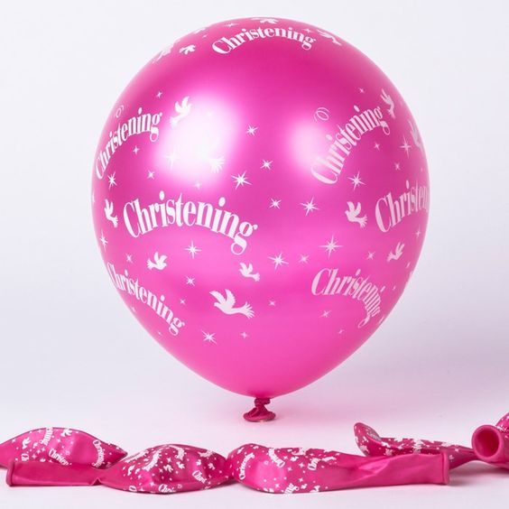 Metallic Pink Christening Latex Balloons, Pack of 6 | Only £1.49