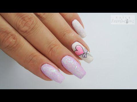 Candy Heart Nails Art My Love Hybrydowe Youtube Heart Nails Heart Candy Nail Art Tutorial