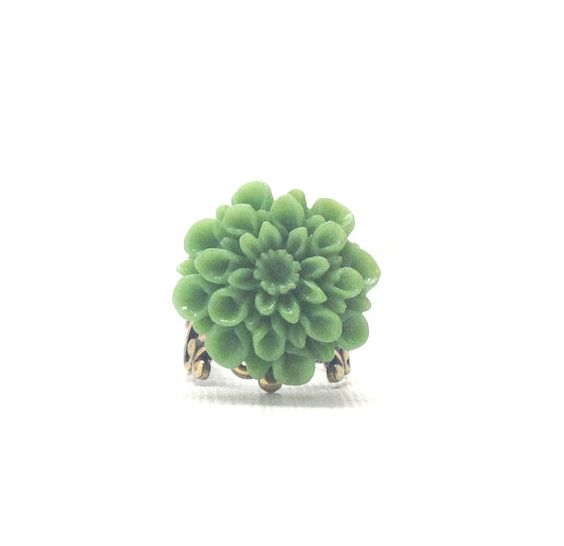 Green Mum Ring Antique Brass Jewelry by GirlBurkeStudios on Etsy, $7.00
