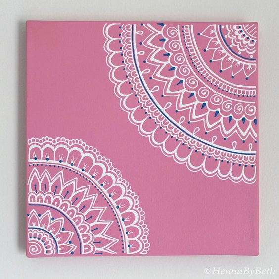 10x10 Henna Canvas: Pink with White and Blue
