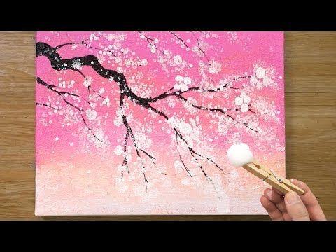 Cerezo En Flor Bajo El Cielo Rosa Tecnica De Pintura De Algodon 469 Youtube Paysage Peinture Facile Peinture Rose Peinture Ciel