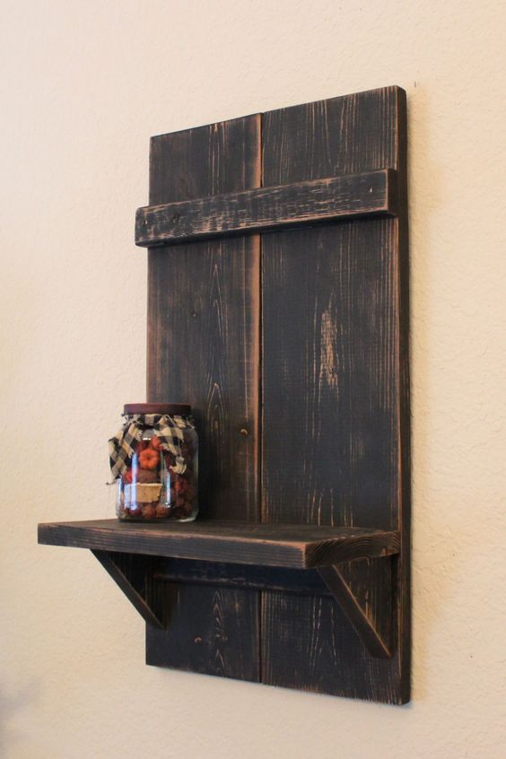 """Handmade Distressed Primitive Wall Shelf, Black, 20"""" x 11"""" x 6"""" by TheSimplifiedHeart on Etsy"""