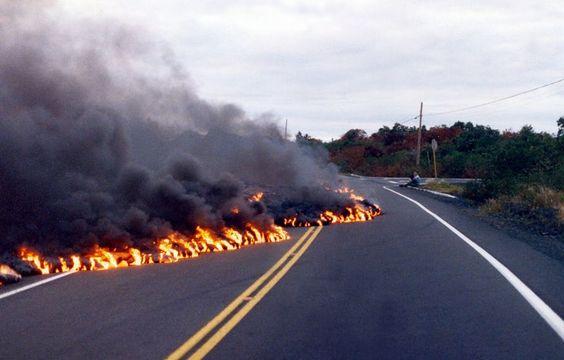 Lava Crosses Highway  Kalapana  1989