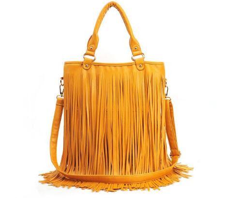 2016 new fringed bag retro portable shoulder female bag big bag multicolor