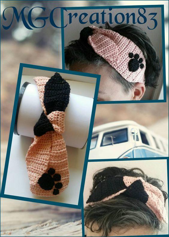 fascia rosa con a lato impronta di gatto e fiocco doppio colore rosa/nero ******************************* Pink headband with cat footprint on the side and double colors bond pink/black