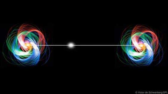 """Widely-separated particles can be spookily """"entangled"""" (Credit: Victor de Schwanberg/SPL)"""