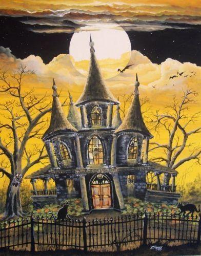 Folk Art Halloween Golden Haunted House Witch Iron Fence Full Moon Print HA31 | eBay