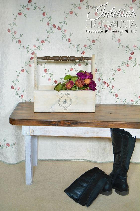 Stained dark walnut and chalk painted white Farmhouse Bench | The Interior Frugalista