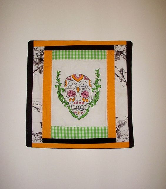 Sugar Skull with Roses Pillow Cover  Colorful Hand by KarenHeenan, $35.00
