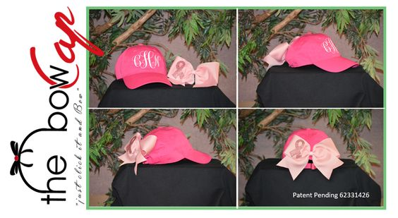 """The """"Bow Cap""""  Patent Pending #62331426  The Bow Cap is the fashionable multifunctional cap that you are sure to want in you closet.  Follow us on Instagram and Twitter @thebowcap #cheer #cheerleader #cheermom #danceteams #softball #softballmom #honorguard #marchingband #collegecheer #monogrammed  #customcaps #southerngirl #thebowcap"""