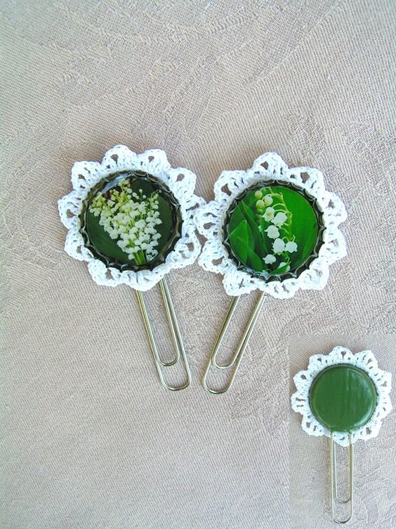 Lace Miracle Collection  --    Lily of the valley bookmarks with white, hand crocheted lace
