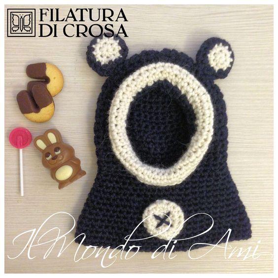 Cappuccio orsetto #handmade per bimbo 4/6 mesi realizzato con filato Pampas Filatura di Crosa Italia