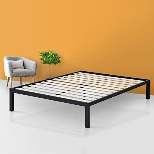 14 Inch Platform Metal Bed Frame Wooden Slat Support Queen Size Black Wood Includes Hardware Metal Bed Frame Bed Frame And Headboard Metal Beds