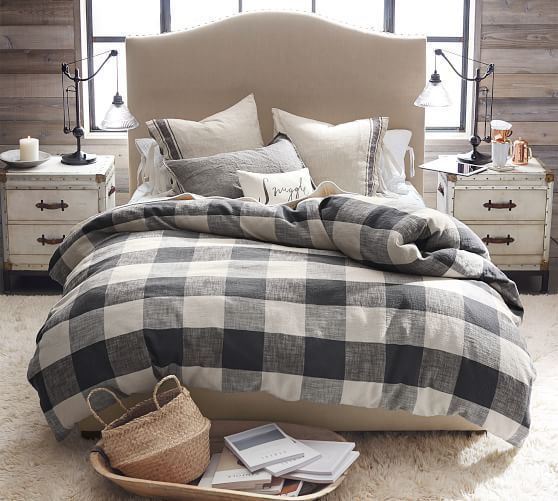 Bryce Buffalo Check Cotton Duvet Cover Amp Shams Taupe Bedding Master Bedroom Home Decor Bedroom Remodel Bedroom