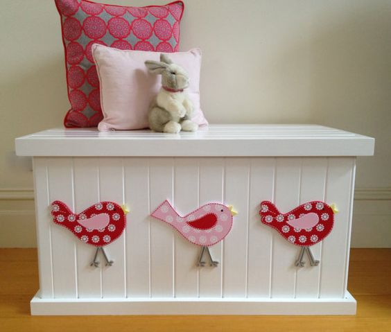 Love those birds, such a cute design! Looks like a nice sturdy toy box too!  Toy Box - Bird Cherry Red/Pink, Girls Toy Box, Toy Chest, Toy Storage, Toy Bin, Wooden Box, Child's Toy Chest, Childrens Furniture, Storage